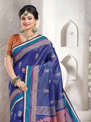 Woven Blue Handloom silk Classic Saree