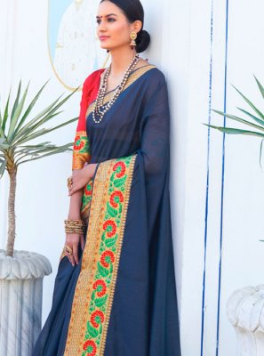 Woven Cotton Casual Saree in Blue