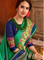 Woven Cotton Casual Saree in Green