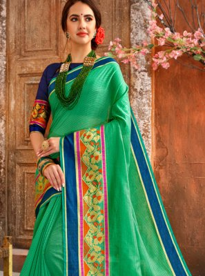 Woven Cotton Casual Saree in Green