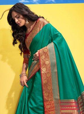 Woven Cotton Green Traditional Saree