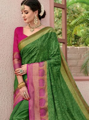 Woven Cotton Green Trendy Saree