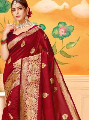 Woven Cotton Red Casual Saree