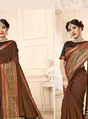 Woven Cotton Silk Casual Saree in Brown