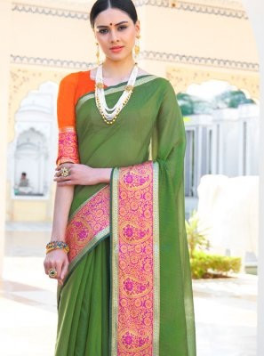 Woven Green Casual Saree