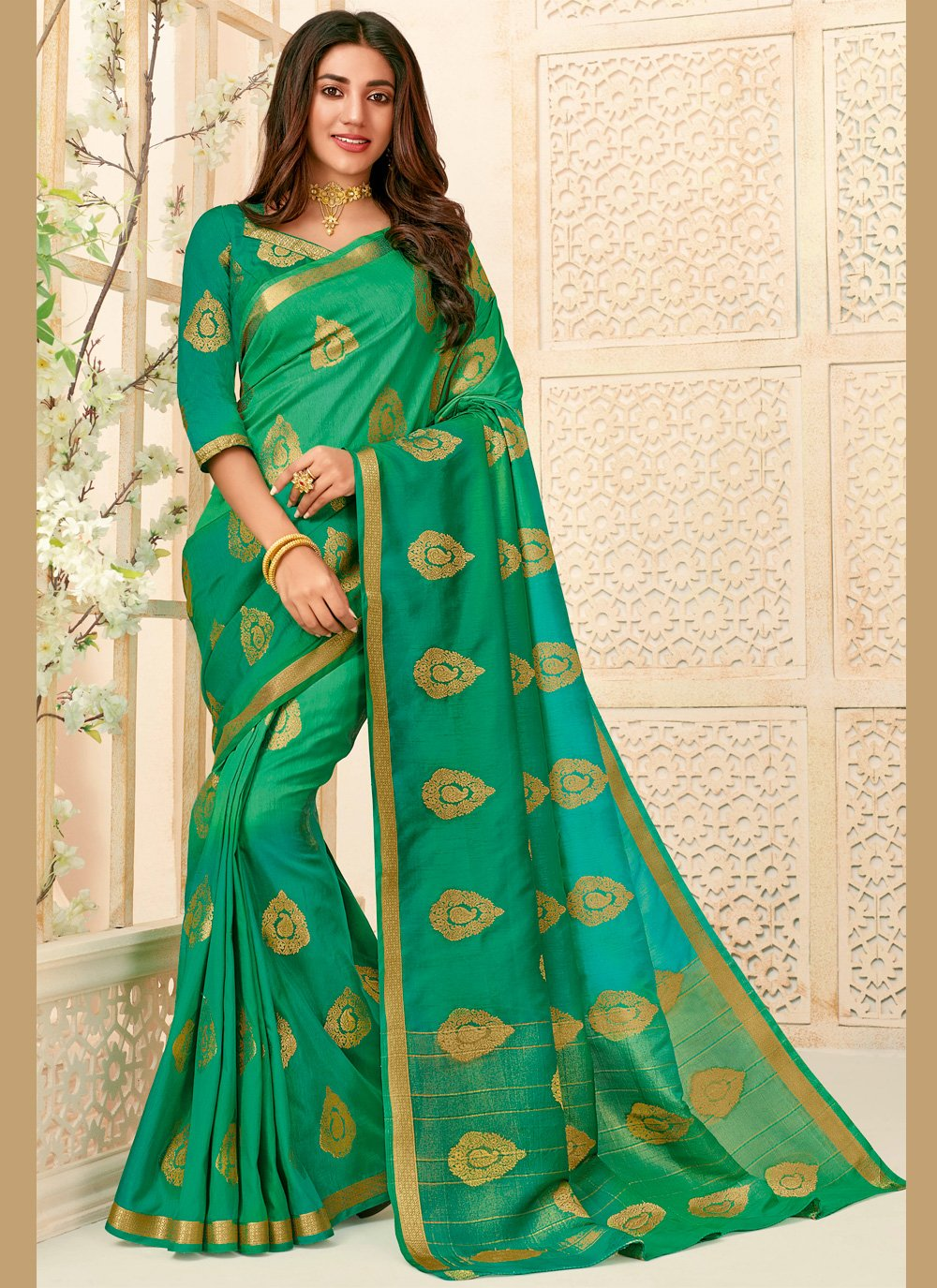 Woven Green Raw Silk Traditional Saree
