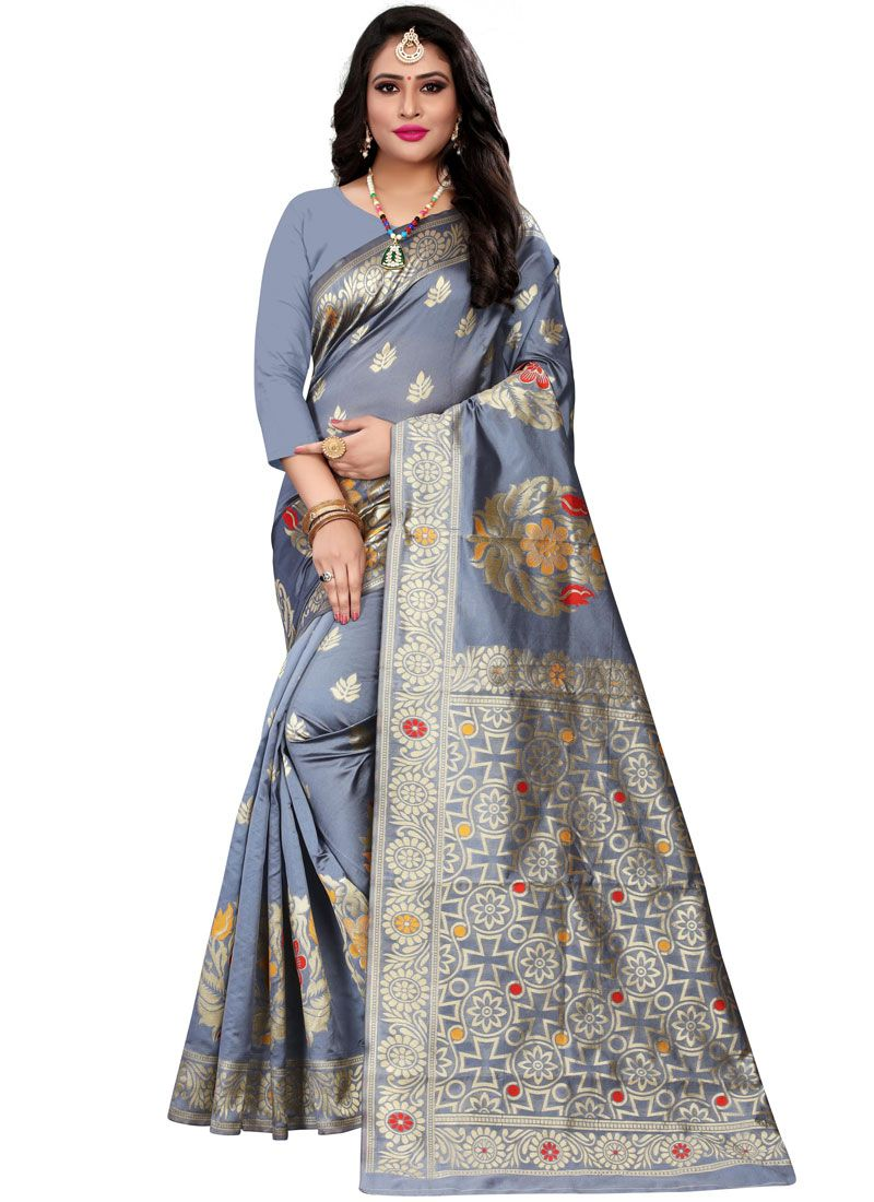 Woven Grey Casual Saree