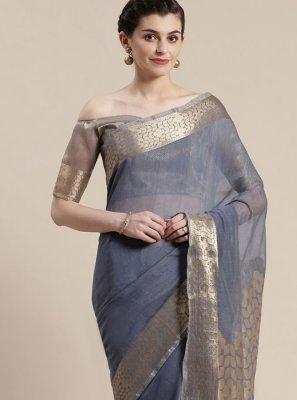 Woven Grey Classic Saree