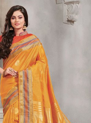 Woven Handloom silk Silk Saree in Mustard