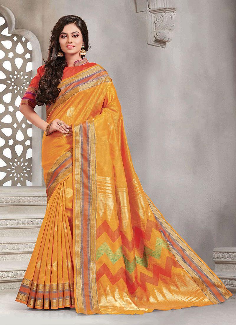 Woven Handloom silk Silk Saree in Mustard