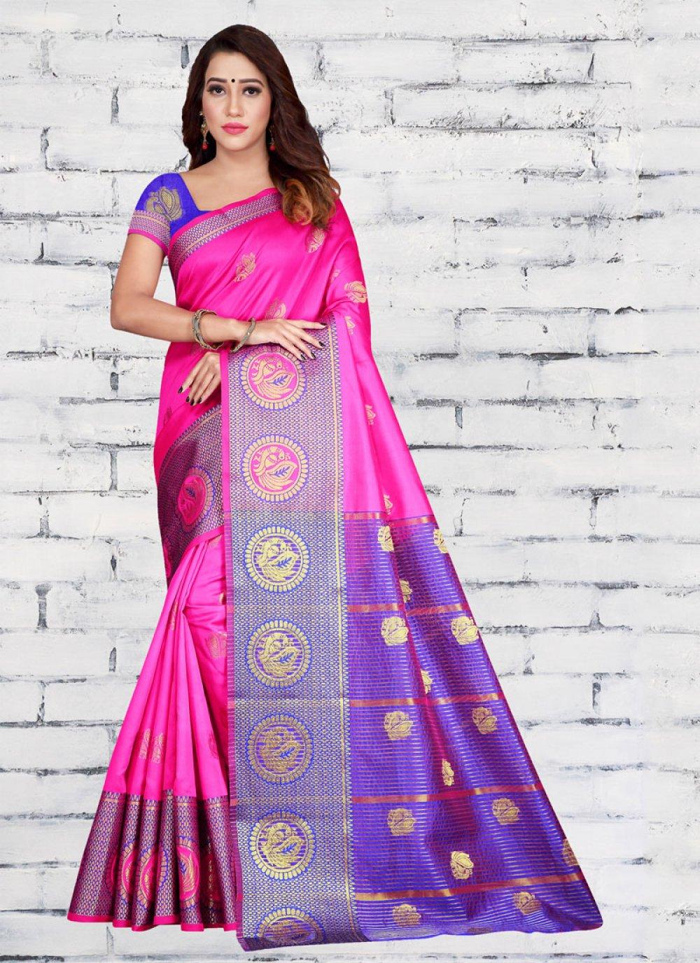 Woven Jacquard Silk Pink Half N Half Trendy Saree