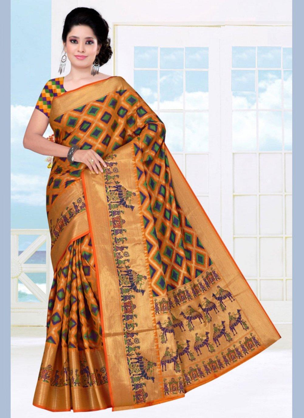Woven Mustard Art Silk Casual Saree