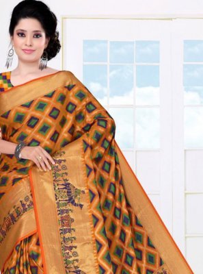Woven Mustard Art Silk Casual Saree