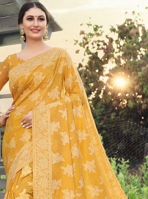 Woven Mustard Cotton Silk Classic Saree