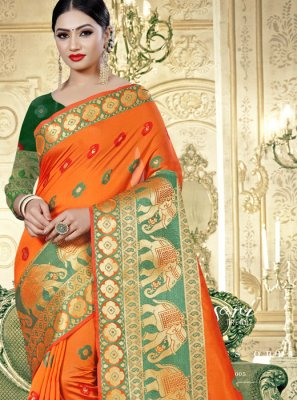 Woven Orange Classic Saree