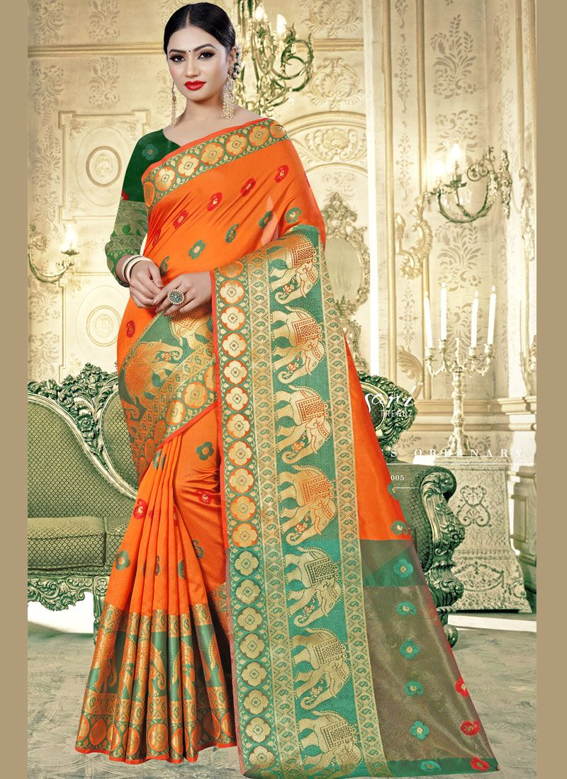 Woven Orange Classic Saree