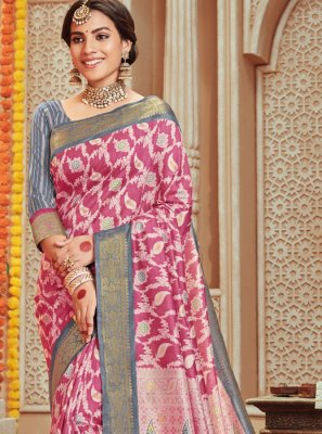 Woven Pink Art Silk Designer Traditional Saree