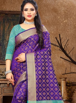 Woven Purple Trendy Saree