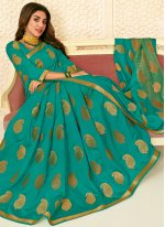 Woven Raw Silk Designer Saree in Sea Green