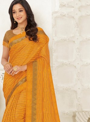 Woven Raw Silk Traditional Saree in Mustard