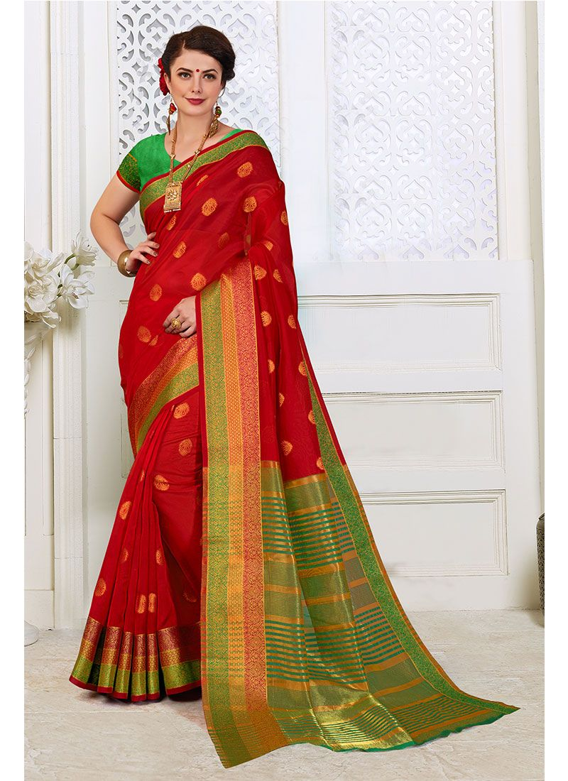 Woven Red Designer Traditional Saree