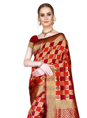 Woven Red Saree