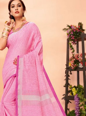 Woven Rose Pink Cotton Casual Saree