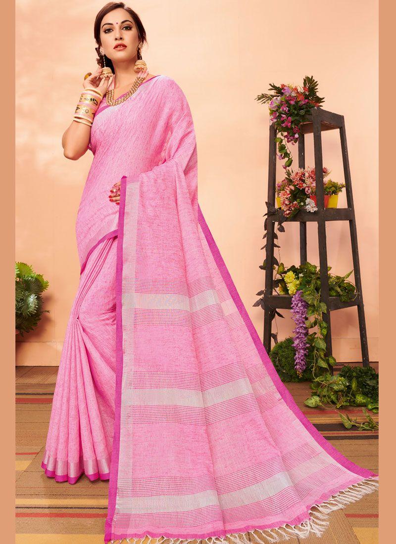 Woven Rose Pink Cotton Casual Saree