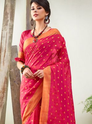 Woven Rose Pink Traditional Designer Saree