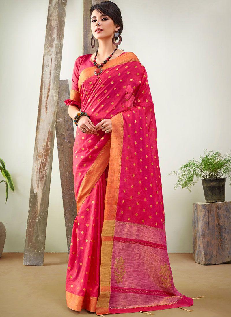Woven Rose Pink Traditional Designer Saree