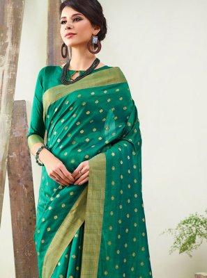 Woven Sea Green Art Silk Designer Traditional Saree
