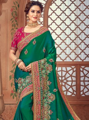 Woven Silk Bollywood Saree in Green