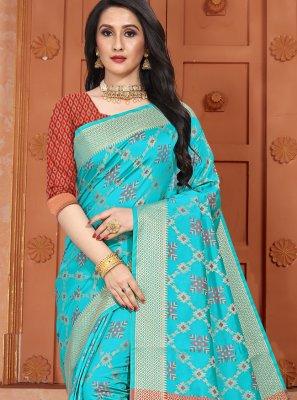 Woven Silk Classic Saree in Aqua Blue
