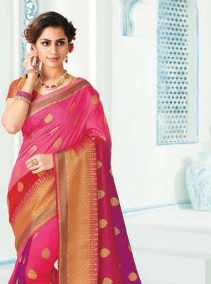 Woven Silk Classic Saree in Hot Pink