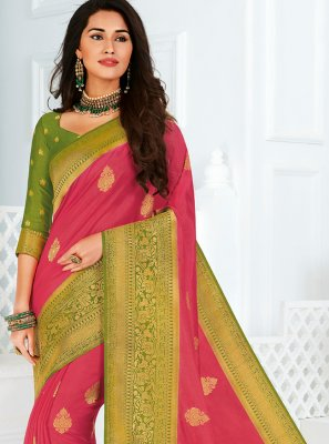 Woven Silk Contemporary Saree in Pink
