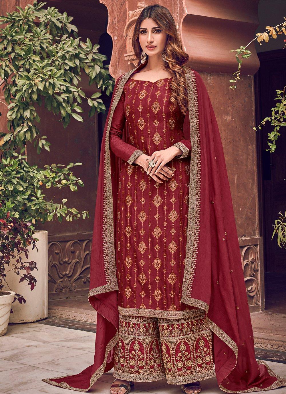Woven Silk Designer Palazzo Salwar Kameez