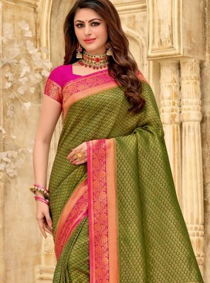 Woven Silk Designer Saree in Green