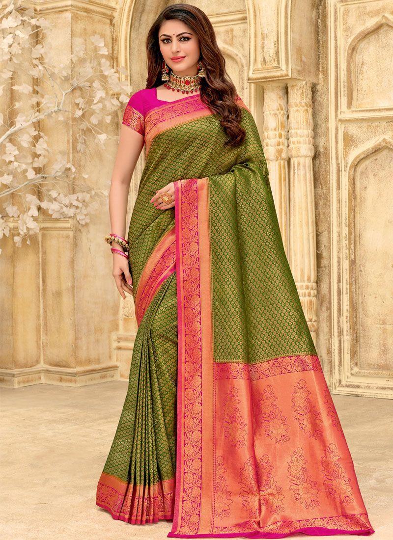 Woven Silk Designer Saree in Green