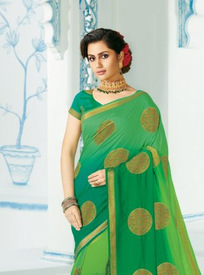 Woven Silk Green Contemporary Saree