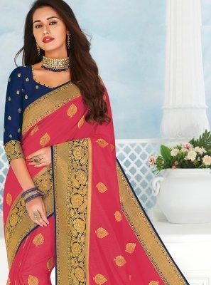 Woven Silk Pink Designer Saree
