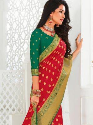 Woven Silk Red Classic Saree
