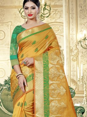 Yellow Art Banarasi Silk Designer Traditional Saree
