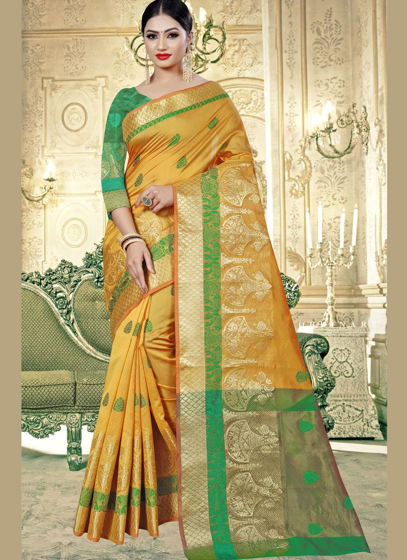 Yellow Art Banarasi Silk Designer Traditional Saree