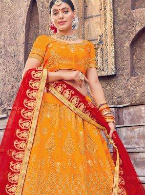 Yellow Art Silk Ceremonial Designer Lehenga Choli