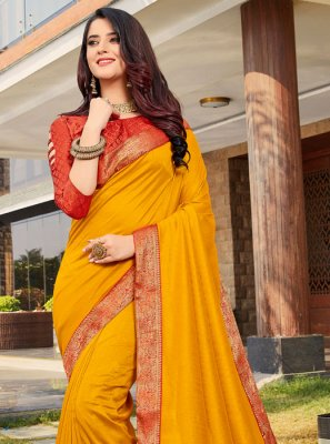 Yellow Art Silk Ceremonial Designer Traditional Saree