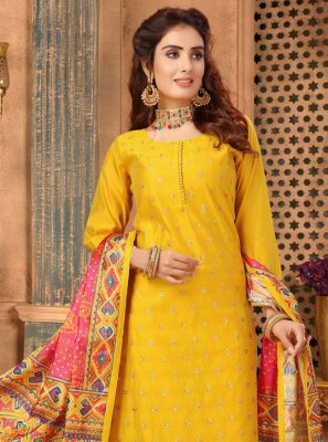 Yellow Art Silk Churidar Salwar Suit