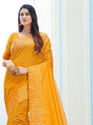 Yellow Art Silk Classic Saree