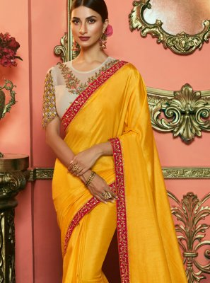 Yellow Art Silk Party Silk Saree