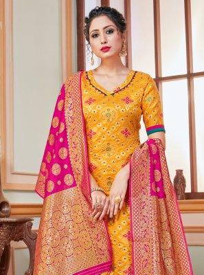 Yellow Banarasi Silk Trendy Salwar Suit