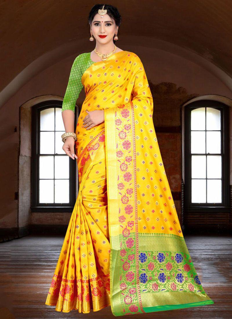 Yellow Banarasi Silk Trendy Saree